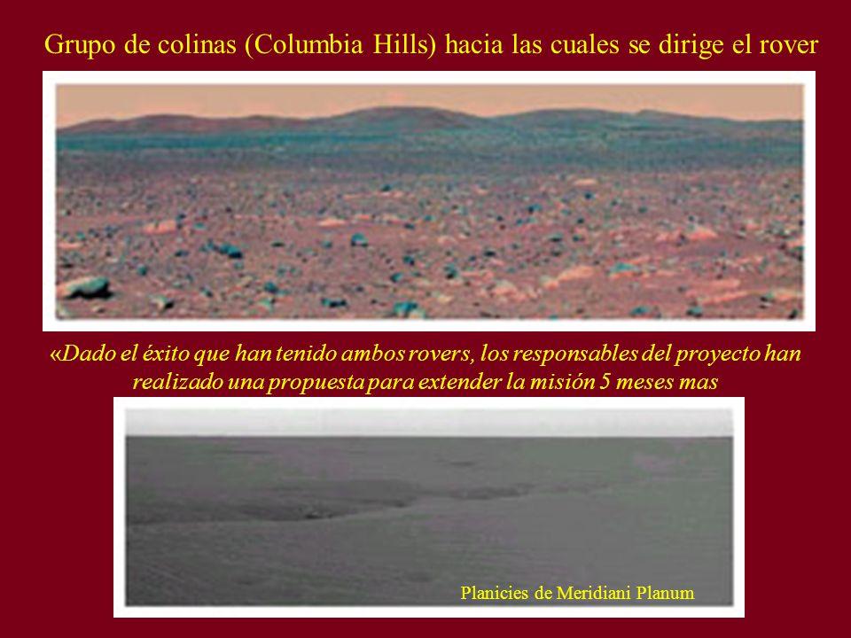 Grupo de colinas (Columbia Hills) hacia las cuales se dirige el rover «Dado el éxito que han tenido ambos rovers, los responsables del proyecto han re