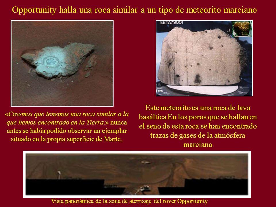 Opportunity halla una roca similar a un tipo de meteorito marciano Este meteorito es una roca de lava basáltica En los poros que se hallan en el seno