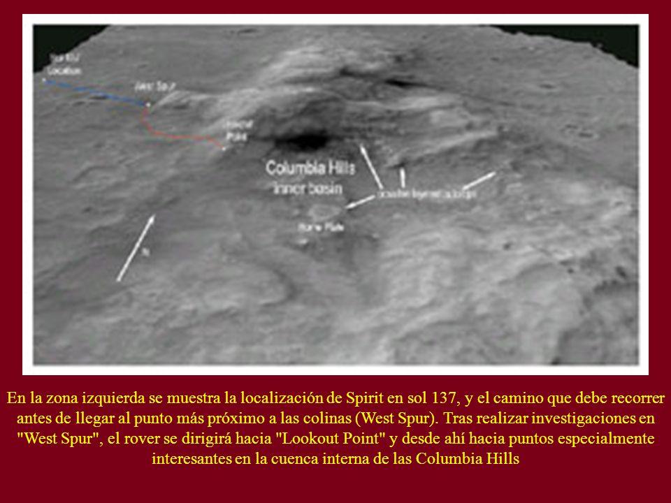 En la zona izquierda se muestra la localización de Spirit en sol 137, y el camino que debe recorrer antes de llegar al punto más próximo a las colinas