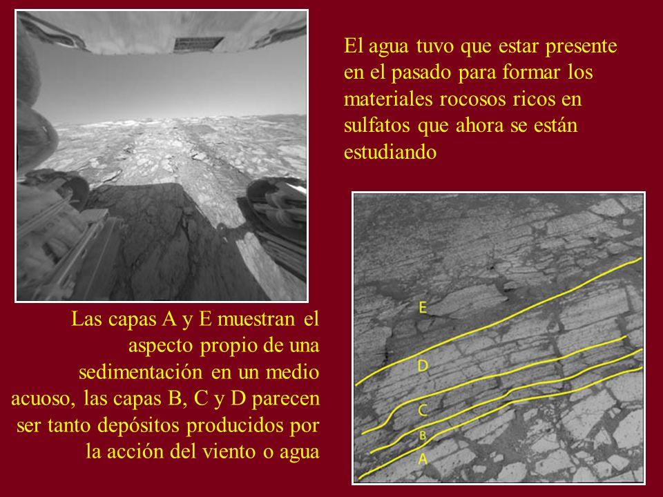 El agua tuvo que estar presente en el pasado para formar los materiales rocosos ricos en sulfatos que ahora se están estudiando Las capas A y E muestr