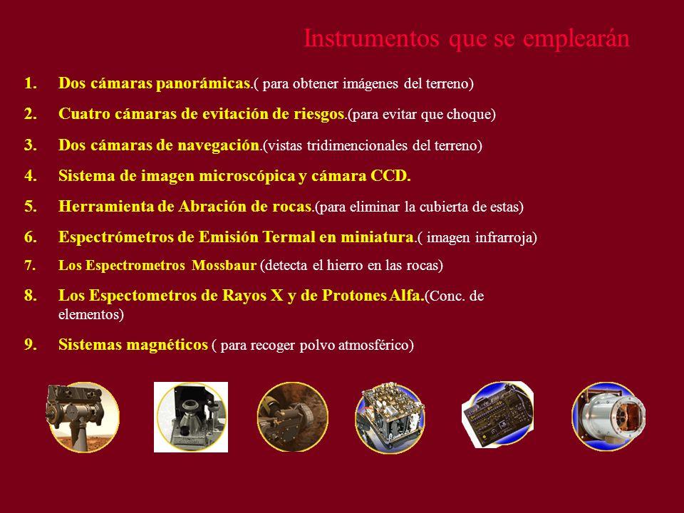 Instrumentos que se emplearán 1.Dos cámaras panorámicas.( para obtener imágenes del terreno) 2.Cuatro cámaras de evitación de riesgos.(para evitar que
