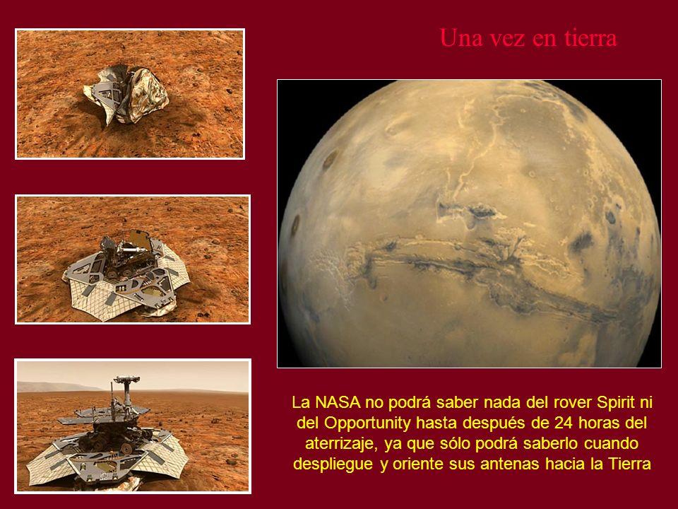 Una vez en tierra La NASA no podrá saber nada del rover Spirit ni del Opportunity hasta después de 24 horas del aterrizaje, ya que sólo podrá saberlo