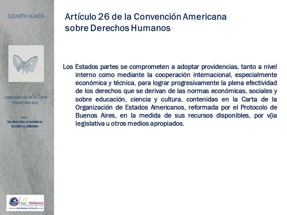 Artículo 26 de la Convención Americana sobre Derechos Humanos Los Estados partes se comprometen a adoptar providencias, tanto a nivel interno como med