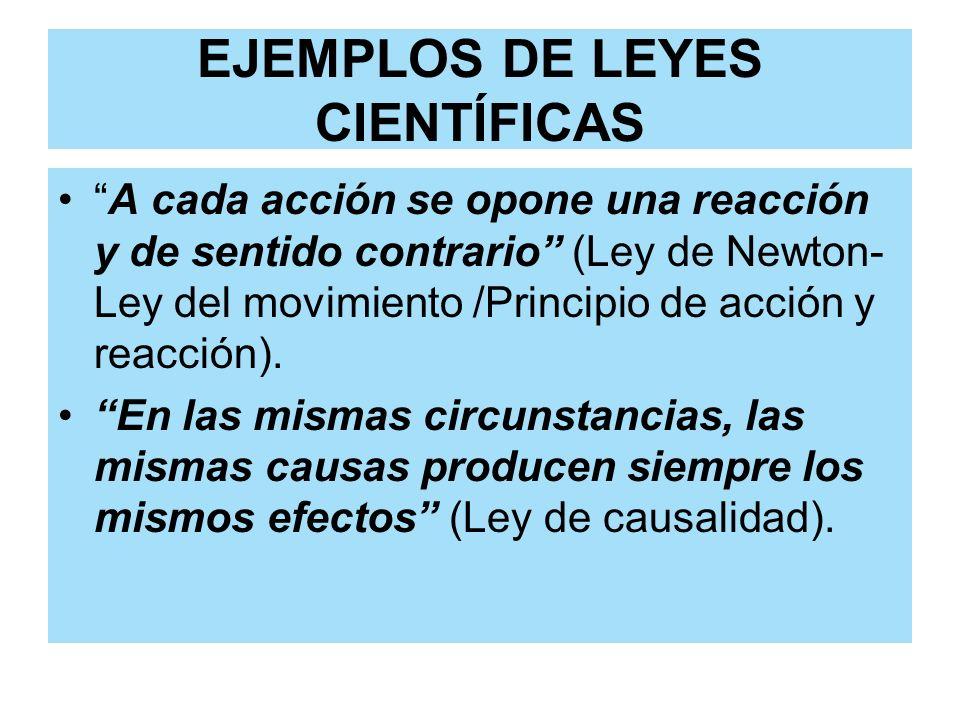 EJEMPLOS DE LEYES CIENTÍFICAS A cada acción se opone una reacción y de sentido contrario (Ley de Newton- Ley del movimiento /Principio de acción y rea