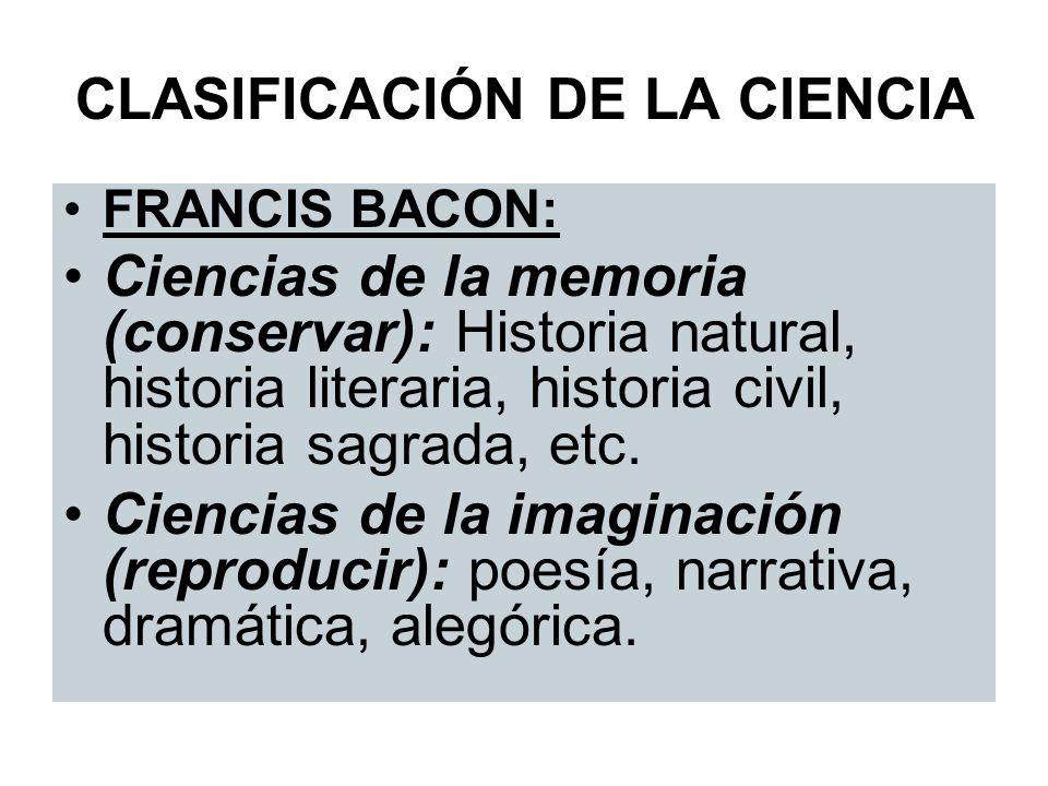 CLASIFICACIÓN DE LA CIENCIA FRANCIS BACON: Ciencias de la memoria (conservar): Historia natural, historia literaria, historia civil, historia sagrada,