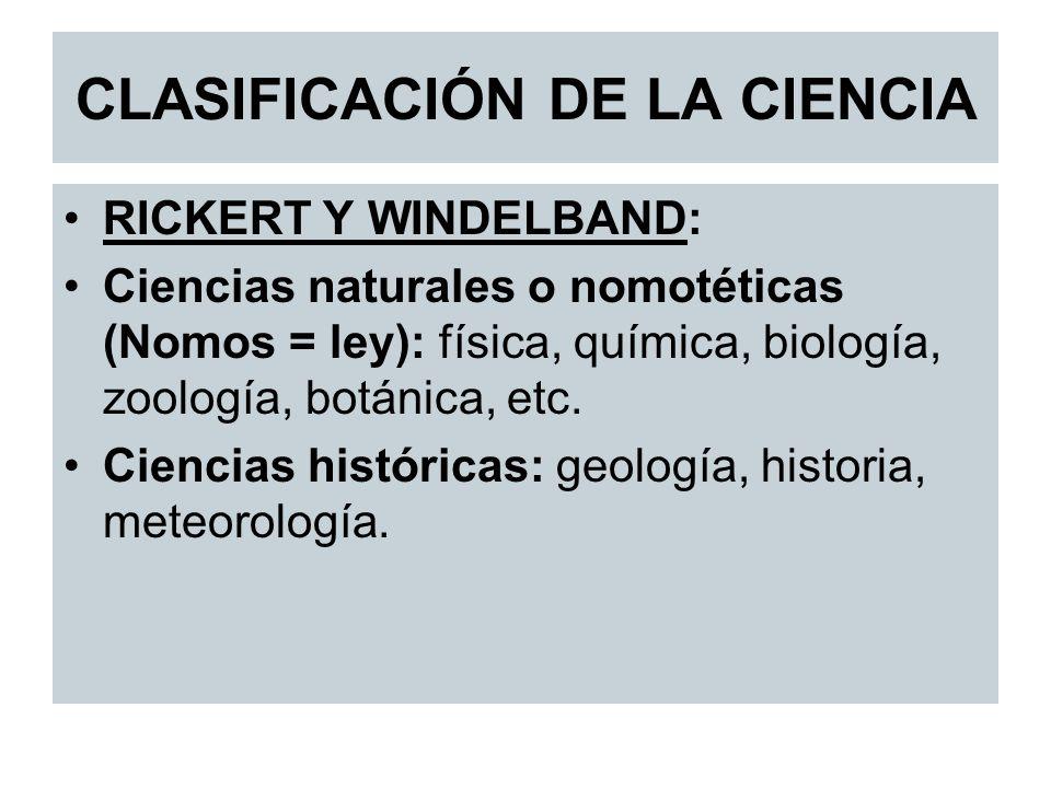 CLASIFICACIÓN DE LA CIENCIA RICKERT Y WINDELBAND: Ciencias naturales o nomotéticas (Nomos = ley): física, química, biología, zoología, botánica, etc.
