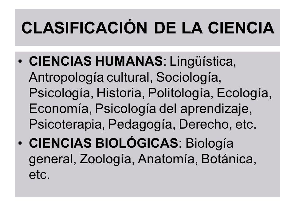CLASIFICACIÓN DE LA CIENCIA CIENCIAS HUMANAS: Lingüística, Antropología cultural, Sociología, Psicología, Historia, Politología, Ecología, Economía, P