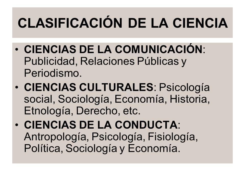 CLASIFICACIÓN DE LA CIENCIA CIENCIAS DE LA COMUNICACIÓN: Publicidad, Relaciones Públicas y Periodismo. CIENCIAS CULTURALES: Psicología social, Sociolo