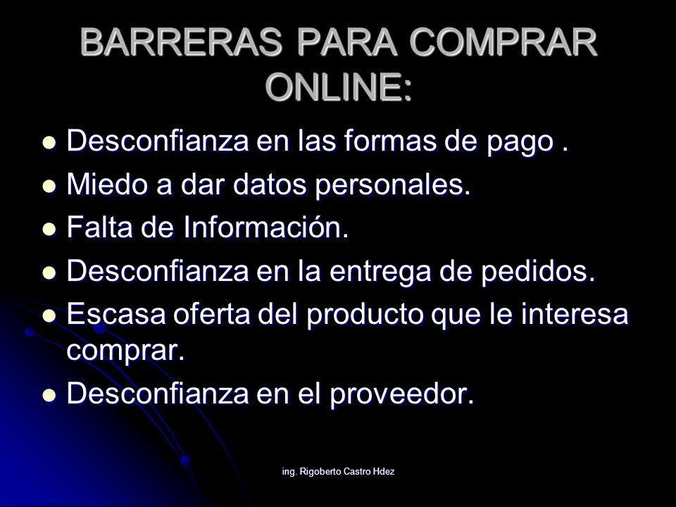 ing. Rigoberto Castro Hdez BARRERAS PARA COMPRAR ONLINE: Desconfianza en las formas de pago. Desconfianza en las formas de pago. Miedo a dar datos per