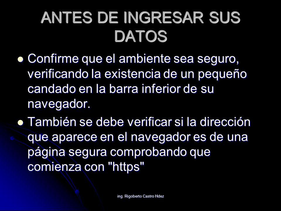 ing. Rigoberto Castro Hdez ANTES DE INGRESAR SUS DATOS Confirme que el ambiente sea seguro, verificando la existencia de un pequeño candado en la barr