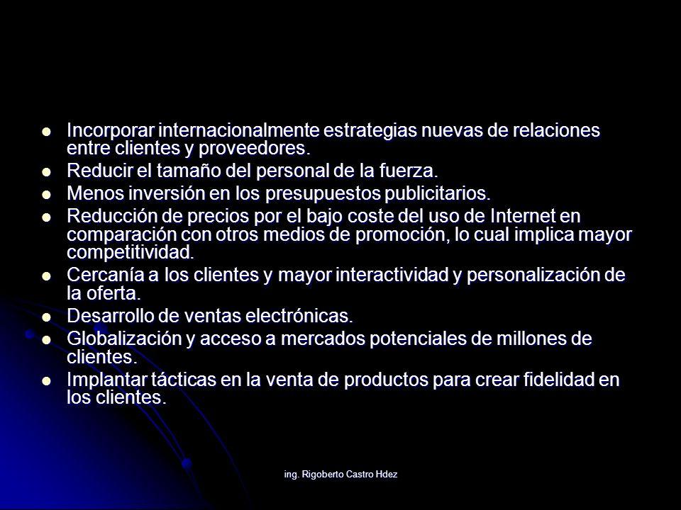 ing. Rigoberto Castro Hdez Incorporar internacionalmente estrategias nuevas de relaciones entre clientes y proveedores. Incorporar internacionalmente