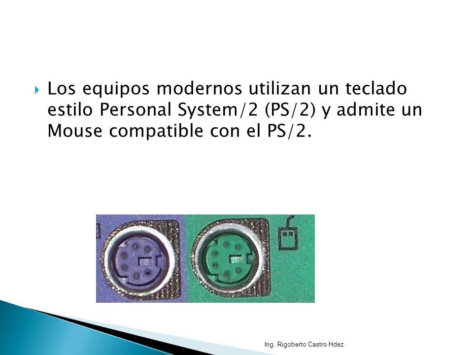 Los equipos modernos utilizan un teclado estilo Personal System/2 (PS/2) y admite un Mouse compatible con el PS/2. Ing. Rigoberto Castro Hdez