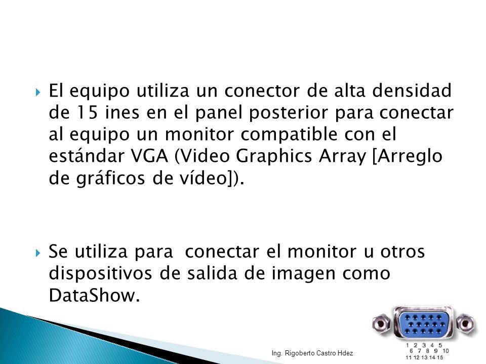 El equipo utiliza un conector de alta densidad de 15 ines en el panel posterior para conectar al equipo un monitor compatible con el estándar VGA (Vid