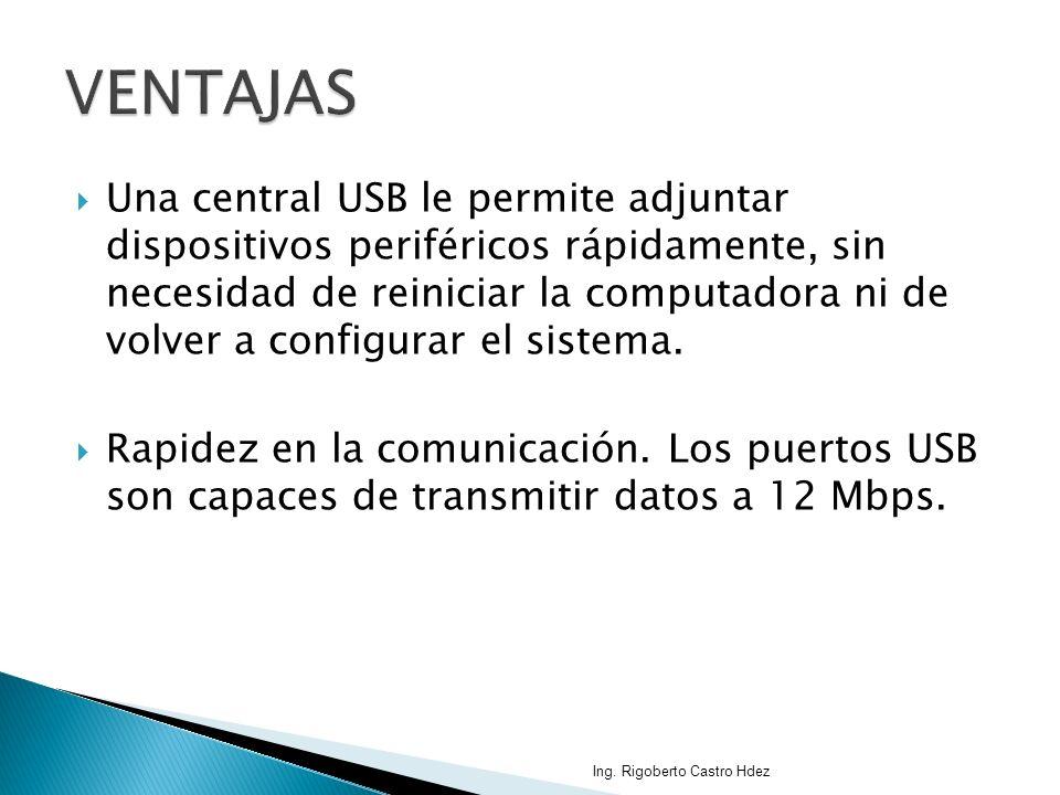 Una central USB le permite adjuntar dispositivos periféricos rápidamente, sin necesidad de reiniciar la computadora ni de volver a configurar el siste