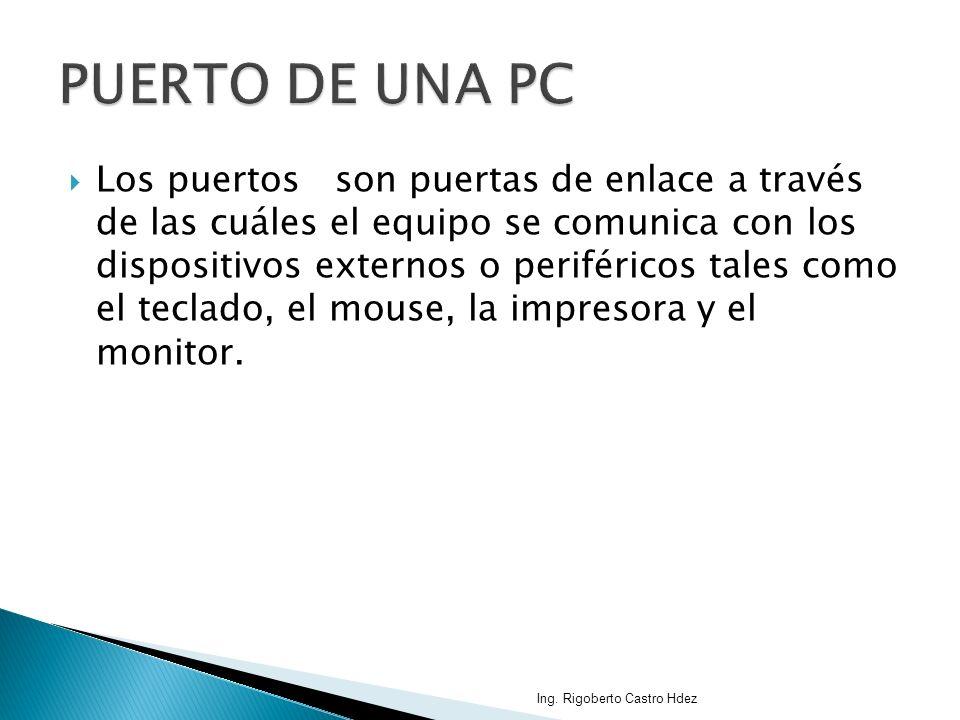 Los puertos son puertas de enlace a través de las cuáles el equipo se comunica con los dispositivos externos o periféricos tales como el teclado, el m