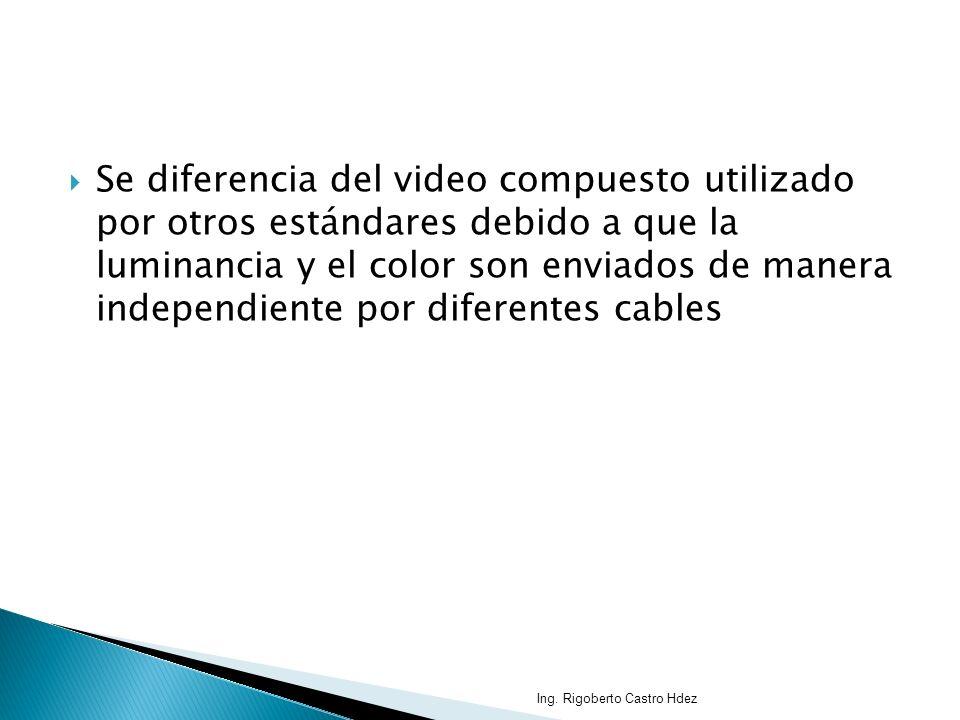 Se diferencia del video compuesto utilizado por otros estándares debido a que la luminancia y el color son enviados de manera independiente por difere