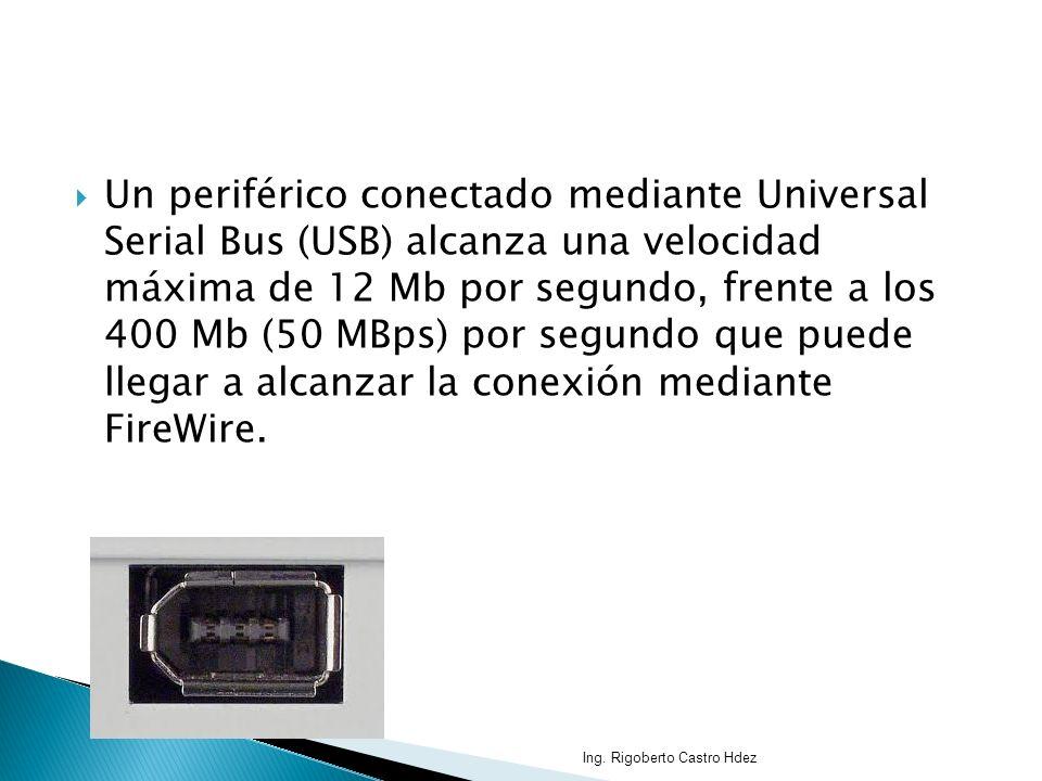 Un periférico conectado mediante Universal Serial Bus (USB) alcanza una velocidad máxima de 12 Mb por segundo, frente a los 400 Mb (50 MBps) por segun
