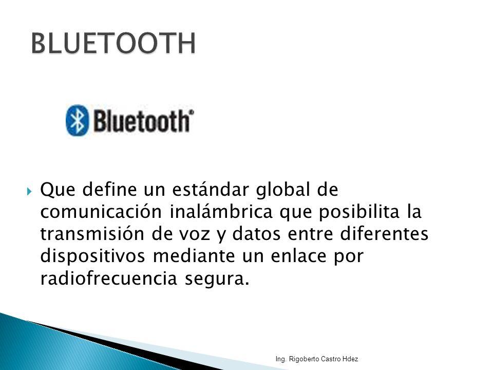 Que define un estándar global de comunicación inalámbrica que posibilita la transmisión de voz y datos entre diferentes dispositivos mediante un enlac
