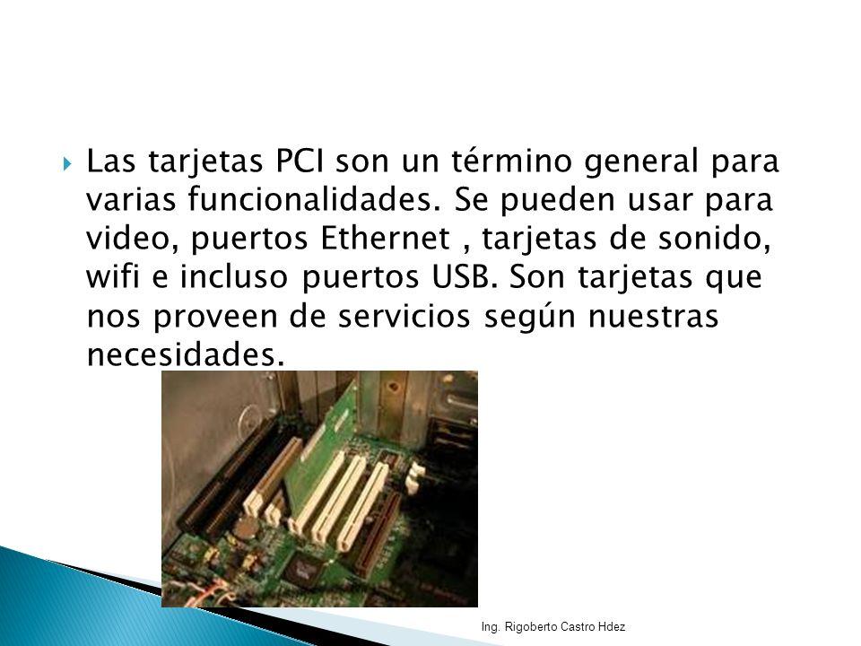 Las tarjetas PCI son un término general para varias funcionalidades. Se pueden usar para video, puertos Ethernet, tarjetas de sonido, wifi e incluso p