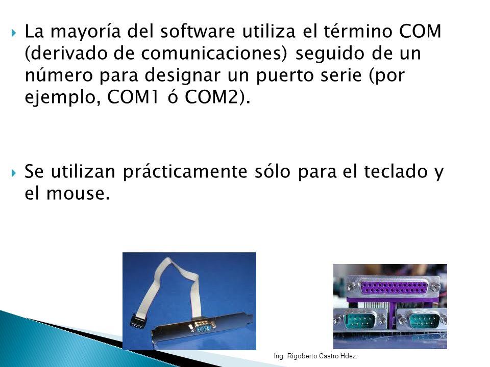 La mayoría del software utiliza el término COM (derivado de comunicaciones) seguido de un número para designar un puerto serie (por ejemplo, COM1 ó CO
