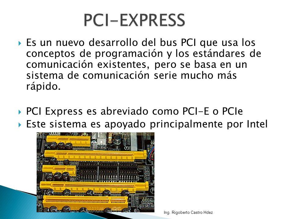Es un nuevo desarrollo del bus PCI que usa los conceptos de programación y los estándares de comunicación existentes, pero se basa en un sistema de co