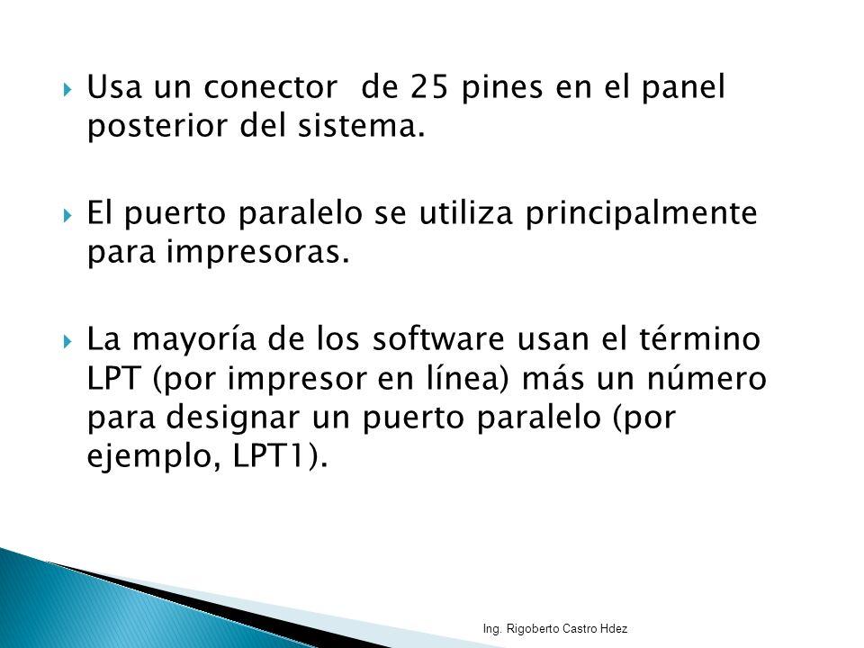 Usa un conector de 25 pines en el panel posterior del sistema. El puerto paralelo se utiliza principalmente para impresoras. La mayoría de los softwar