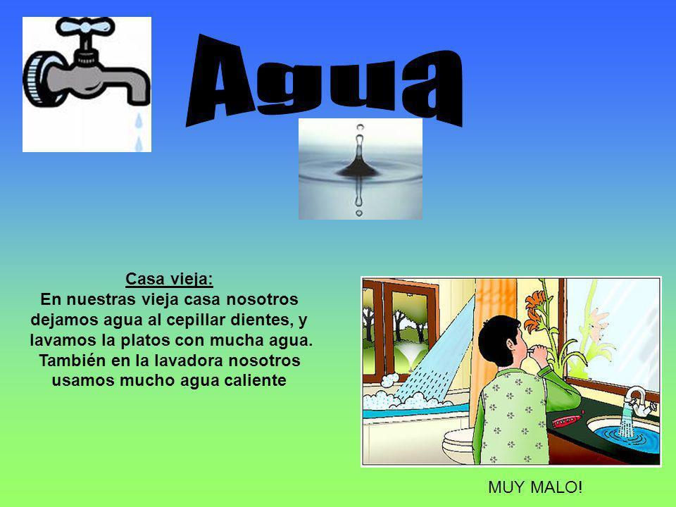 Casa vieja: En nuestras vieja casa nosotros dejamos agua al cepillar dientes, y lavamos la platos con mucha agua.