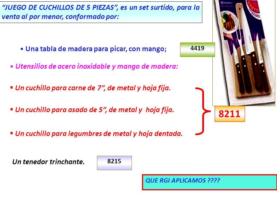 JUEGO DE CUCHILLOS DE 5 PIEZAS, es un set surtido, para la venta al por menor, conformado por: Una tabla de madera para picar, con mango; Un cuchillo