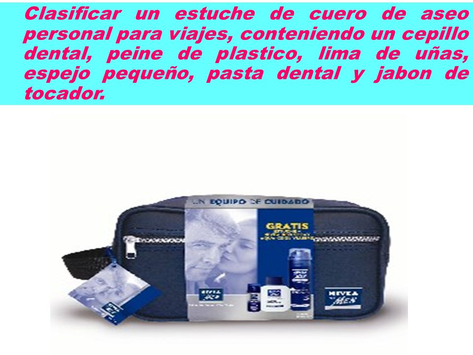 Clasificar un estuche de cuero de aseo personal para viajes, conteniendo un cepillo dental, peine de plastico, lima de uñas, espejo pequeño, pasta den