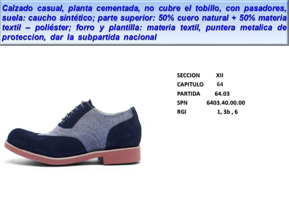 Calzado casual, planta cementada, no cubre el tobillo, con pasadores, suela: caucho sintético; parte superior: 50% cuero natural + 50% materia textil