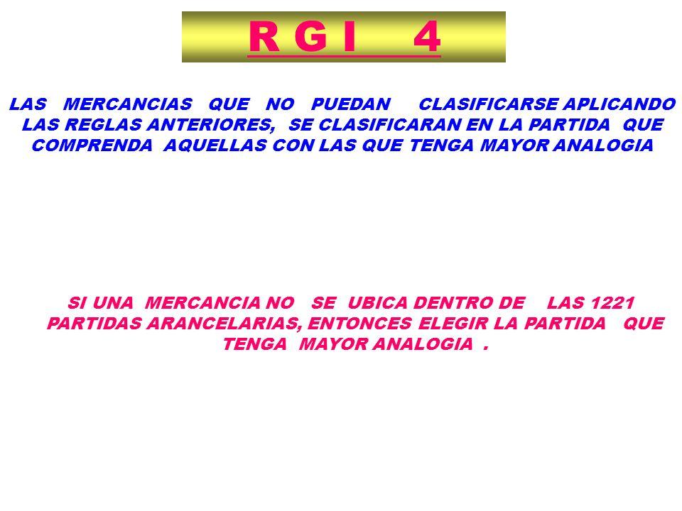 R G I 4 SI UNA MERCANCIA NO SE UBICA DENTRO DE LAS 1221 PARTIDAS ARANCELARIAS, ENTONCES ELEGIR LA PARTIDA QUE TENGA MAYOR ANALOGIA. LAS MERCANCIAS QUE