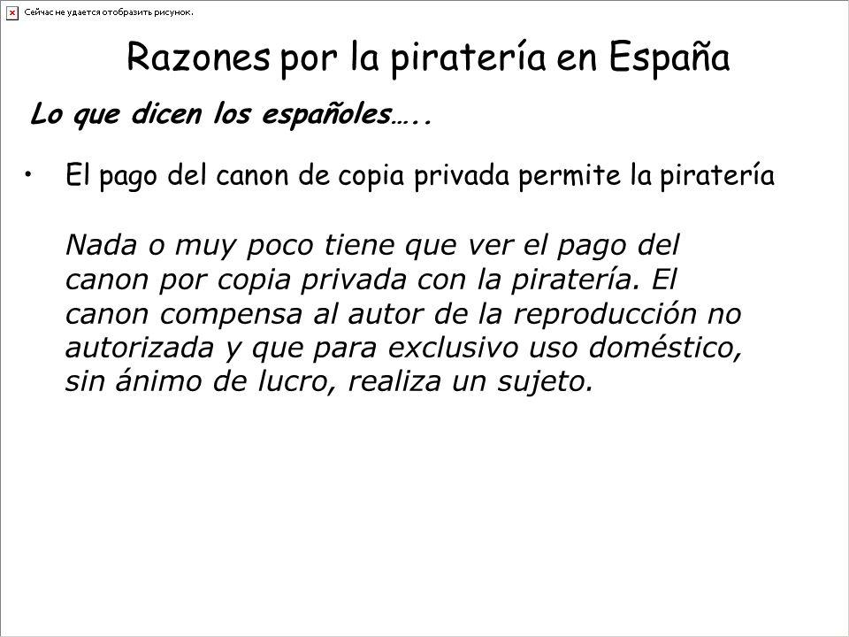 Razones por la piratería en España El pago del canon de copia privada permite la piratería Lo que dicen los españoles…..
