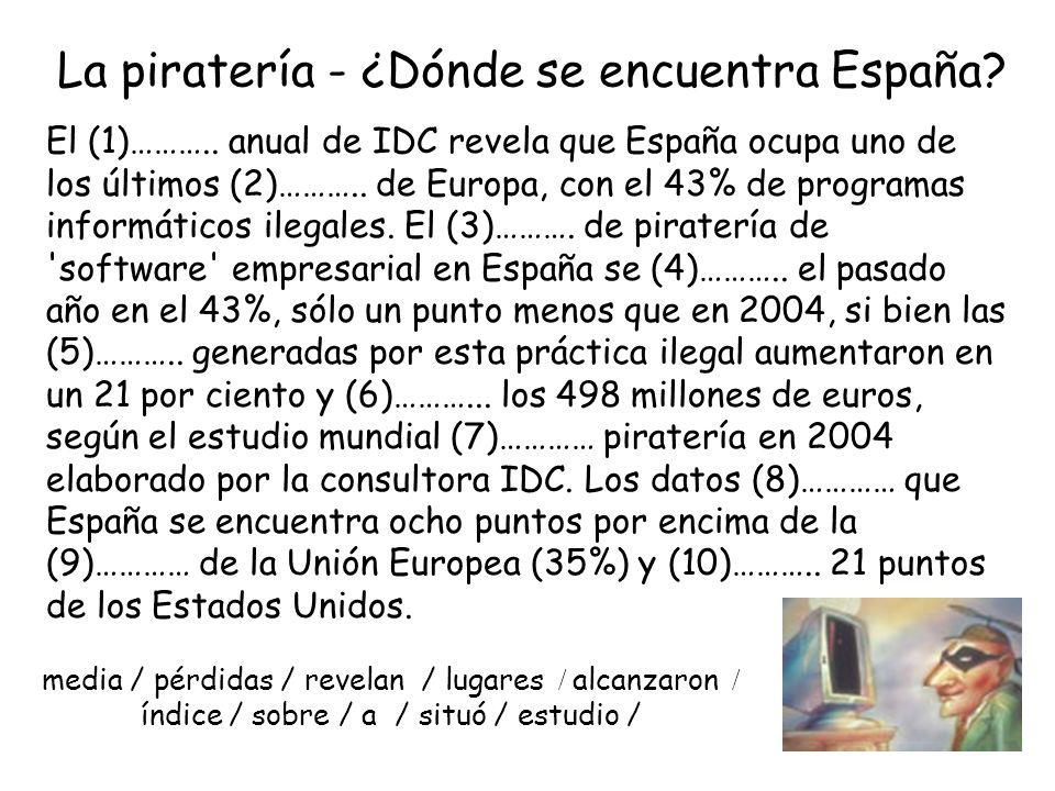 La piratería - ¿Dónde se encuentra España. El (1)………..