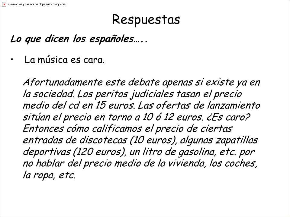 Respuestas La música es cara. Lo que dicen los españoles…..