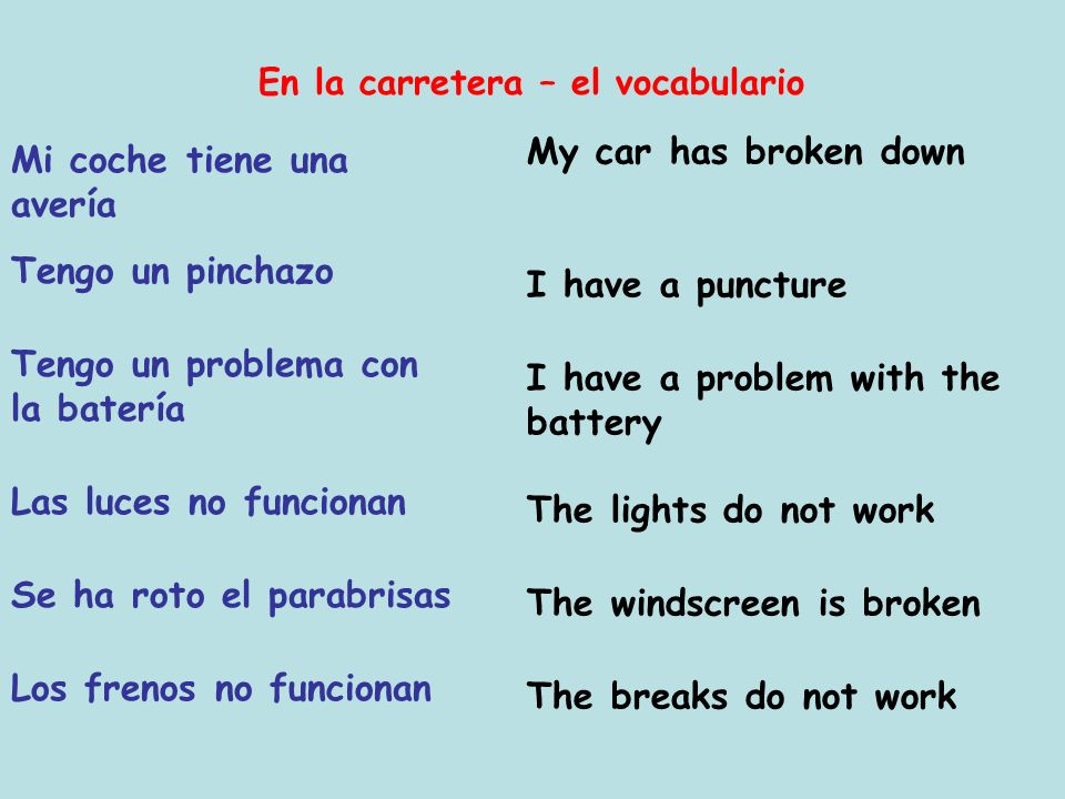 Objetivos: Recognise the vocabulary for car problems Lunes el 3 de julio