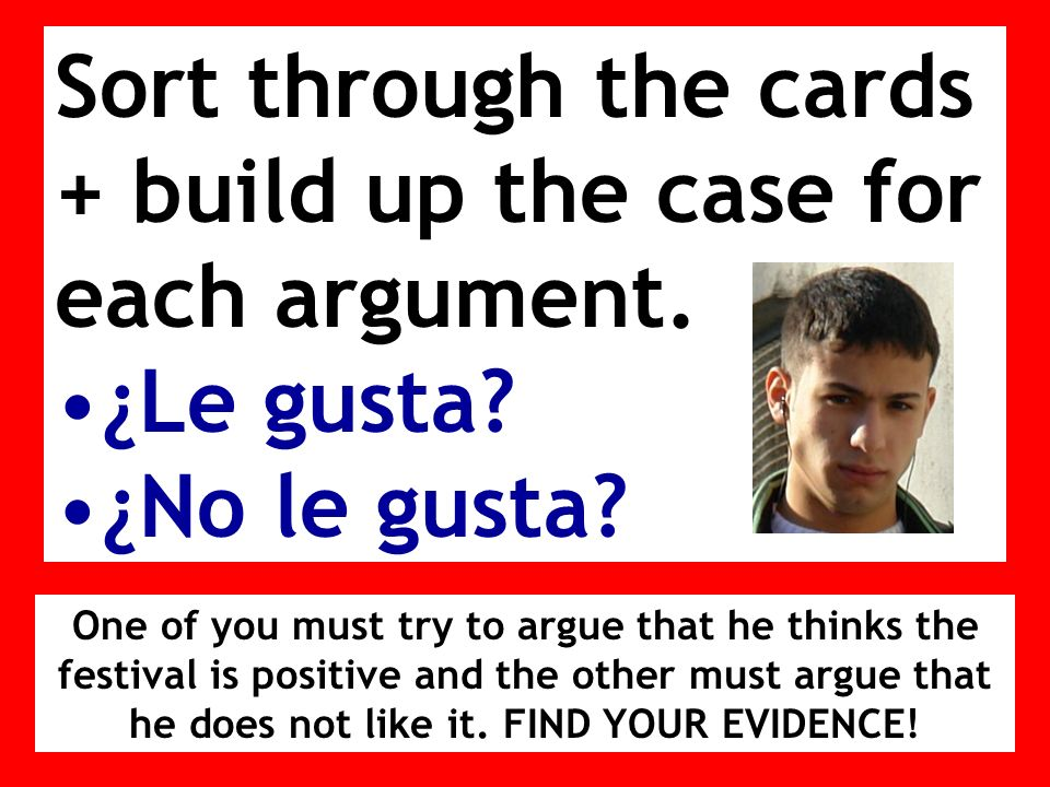 Sort through the cards + build up the case for each argument.