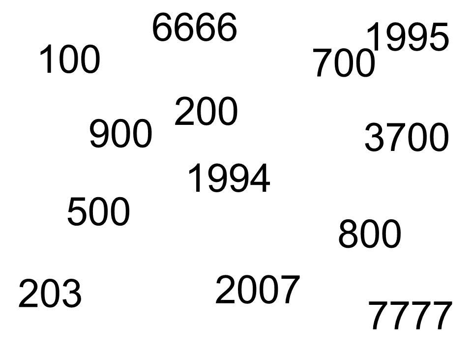 100 200 500 700 800 900 203 2007 3700 6666 7777 1994 1995