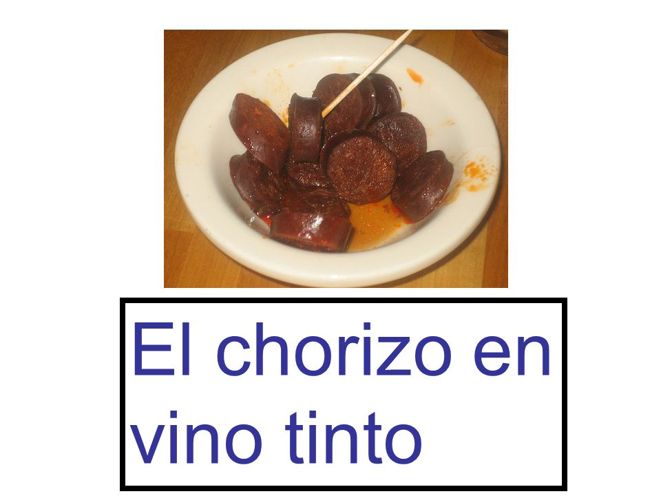 El chorizo en vino tinto
