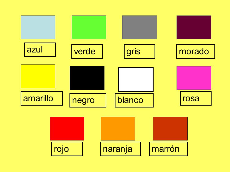 azul verde rojonaranjamarrón moradogris amarillo negroblanco rosa