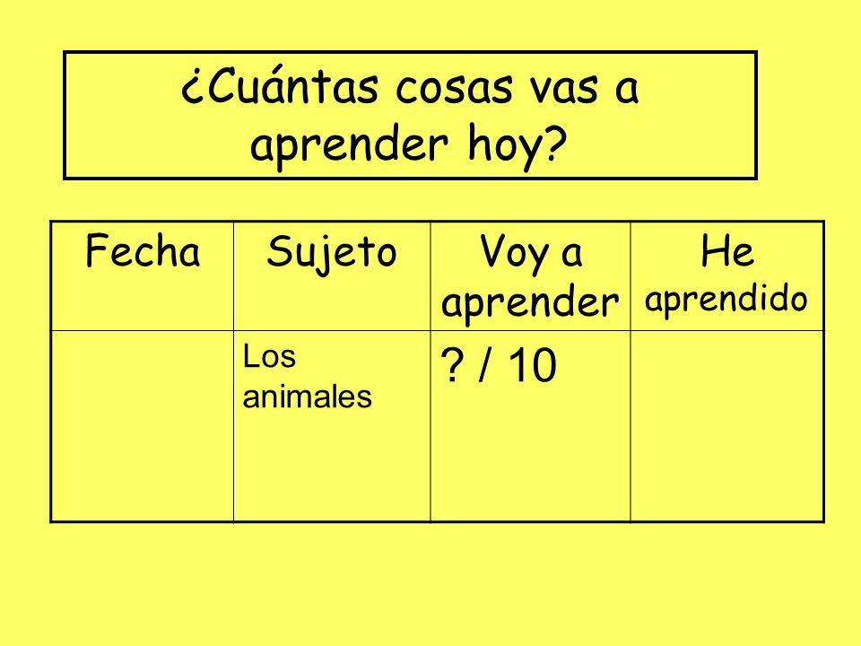 FechaSujetoVoy a aprender He aprendido Los animales ? / 10 ¿Cuántas cosas vas a aprender hoy?