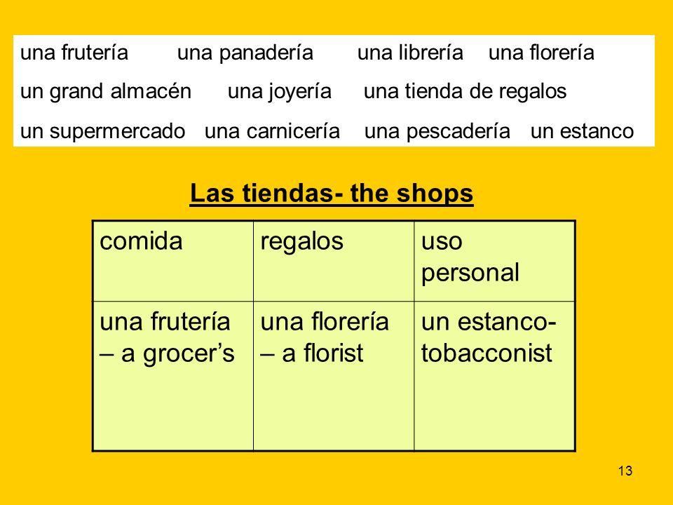 13 una frutería una panadería una librería una florería un grand almacén una joyería una tienda de regalos un supermercado una carnicería una pescader