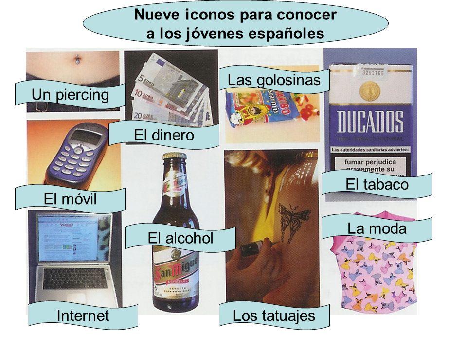 Nueve iconos para conocer a los jóvenes españoles Un piercing El dinero Las golosinas El tabaco El móvil Internet El alcohol Los tatuajes La moda