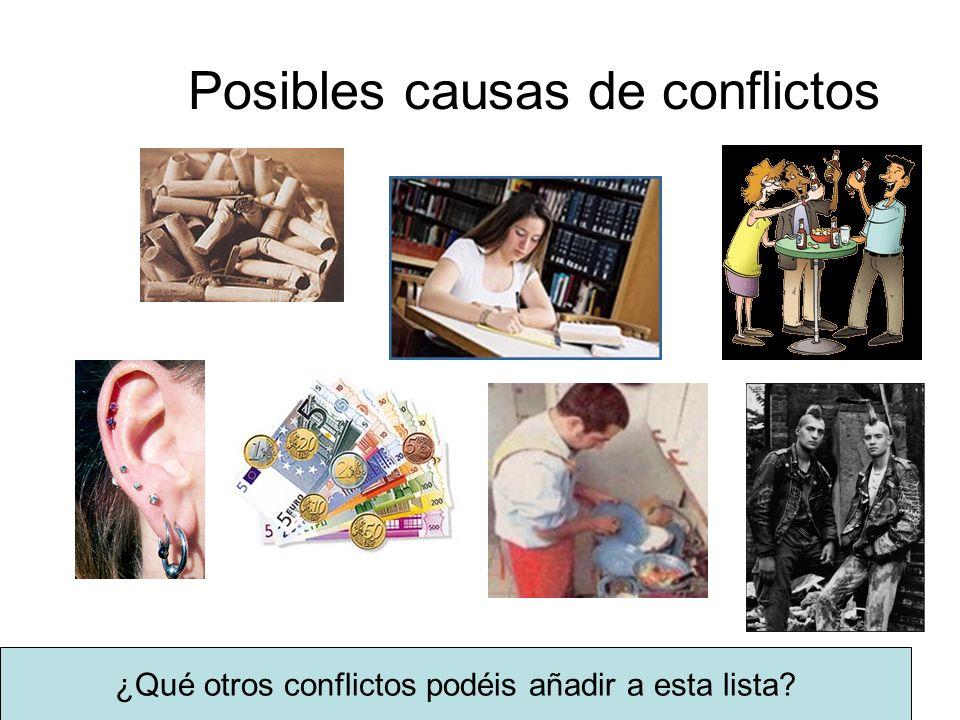 Posibles causas de conflictos ¿Qué otros conflictos podéis añadir a esta lista?