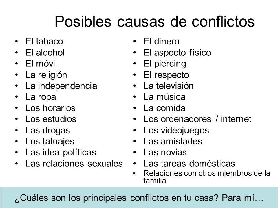 Posibles causas de conflictos El tabaco El alcohol El móvil La religión La independencia La ropa Los horarios Los estudios Las drogas Los tatuajes Las