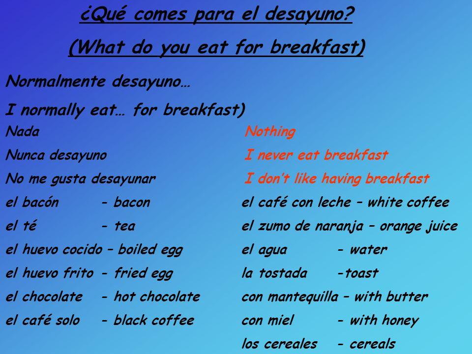 Tareas: 1)Copia el vocabulario 2) Escribe una descripción de lo que comes para el desayuno 3)Practica con una pareja como pronunciarlo