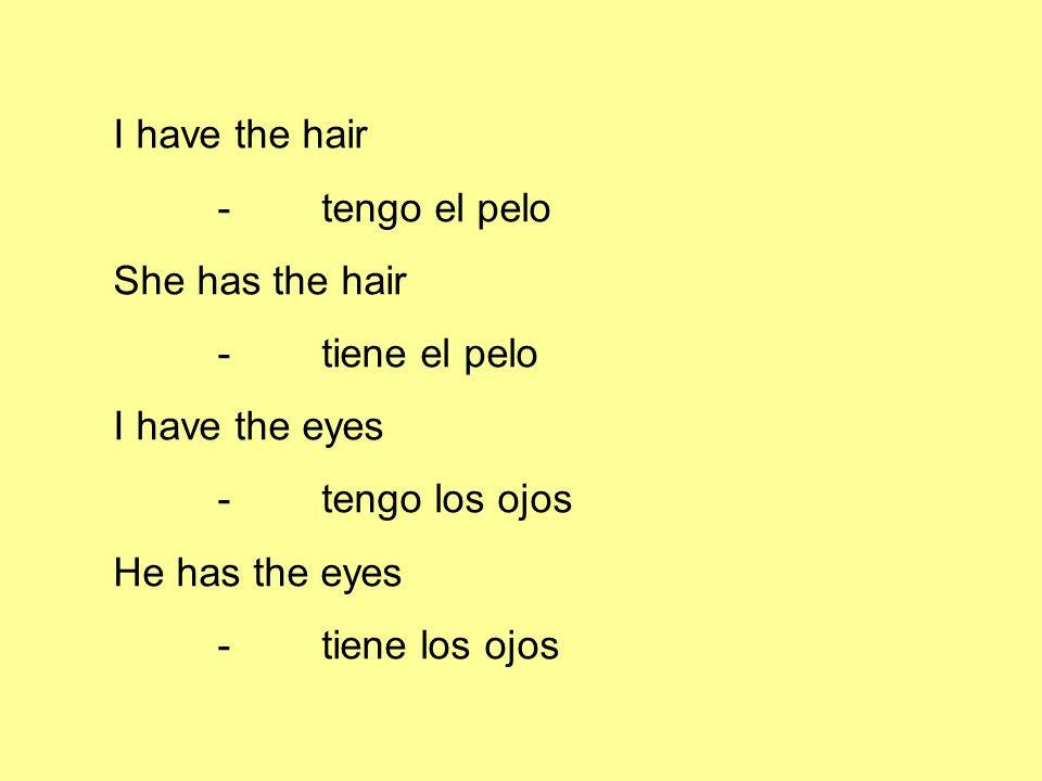 I have the hair -tengo el pelo She has the hair -tiene el pelo I have the eyes -tengo los ojos He has the eyes -tiene los ojos