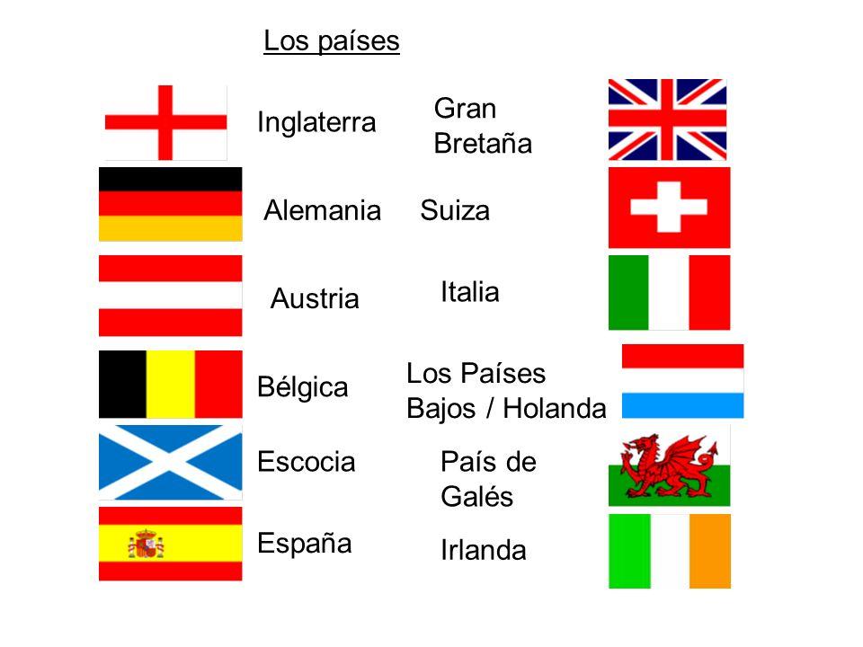 Inglaterra Alemania Austria Bélgica Escocia España Gran Bretaña Suiza Italia Los Países Bajos / Holanda País de Galés Irlanda Los países