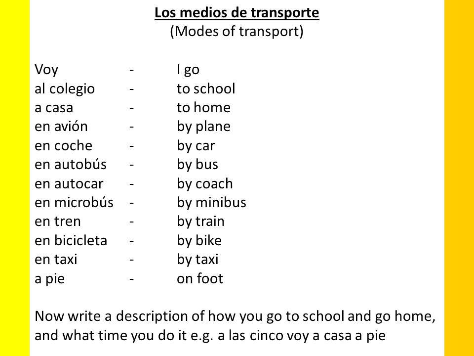 (Modes of transport) Voy-I go al colegio-to school a casa-to home en avión-by plane en coche-by car en autobús-by bus en autocar-by coach en microbús-