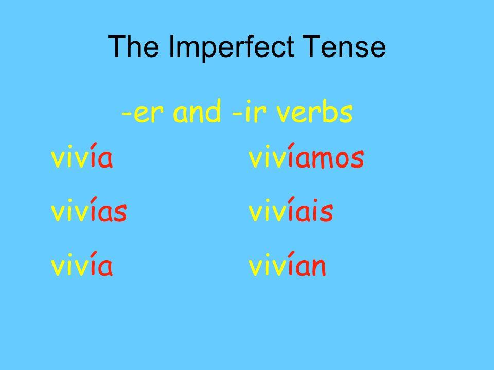 The Imperfect Tense -er and -ir verbs vivía vivíamos vivíasvivíais vivíavivían