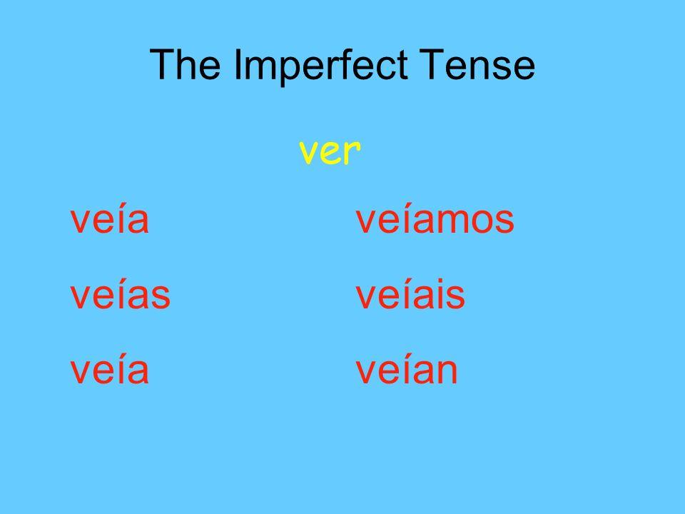 The Imperfect Tense ver veía veíamos veías veíais veía veían
